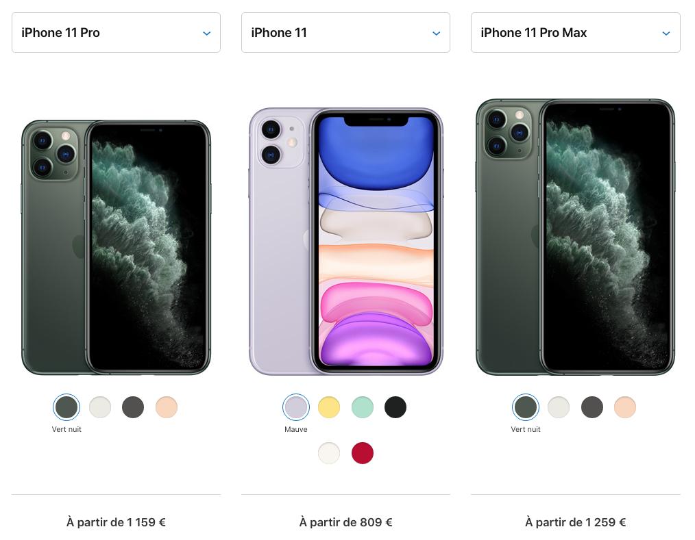 Comparatif iPhone 11